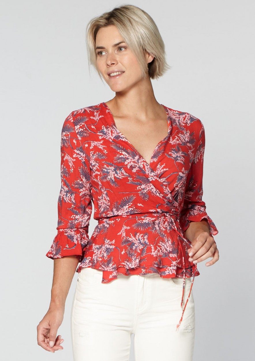 Lexi Wrap Blouse Red Rules