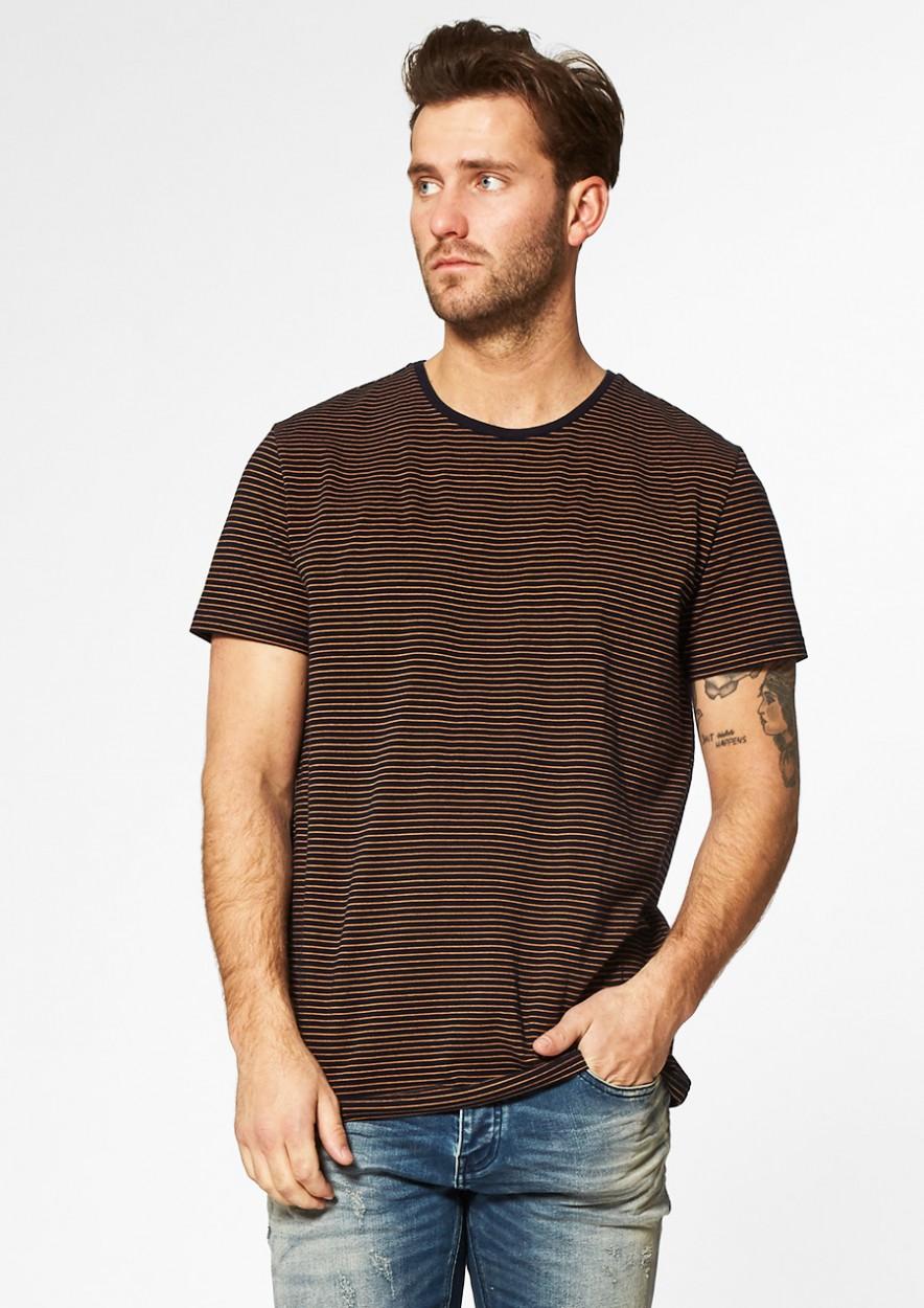 Theo Gestreept T-Shirt Donkerblauw/Oranje