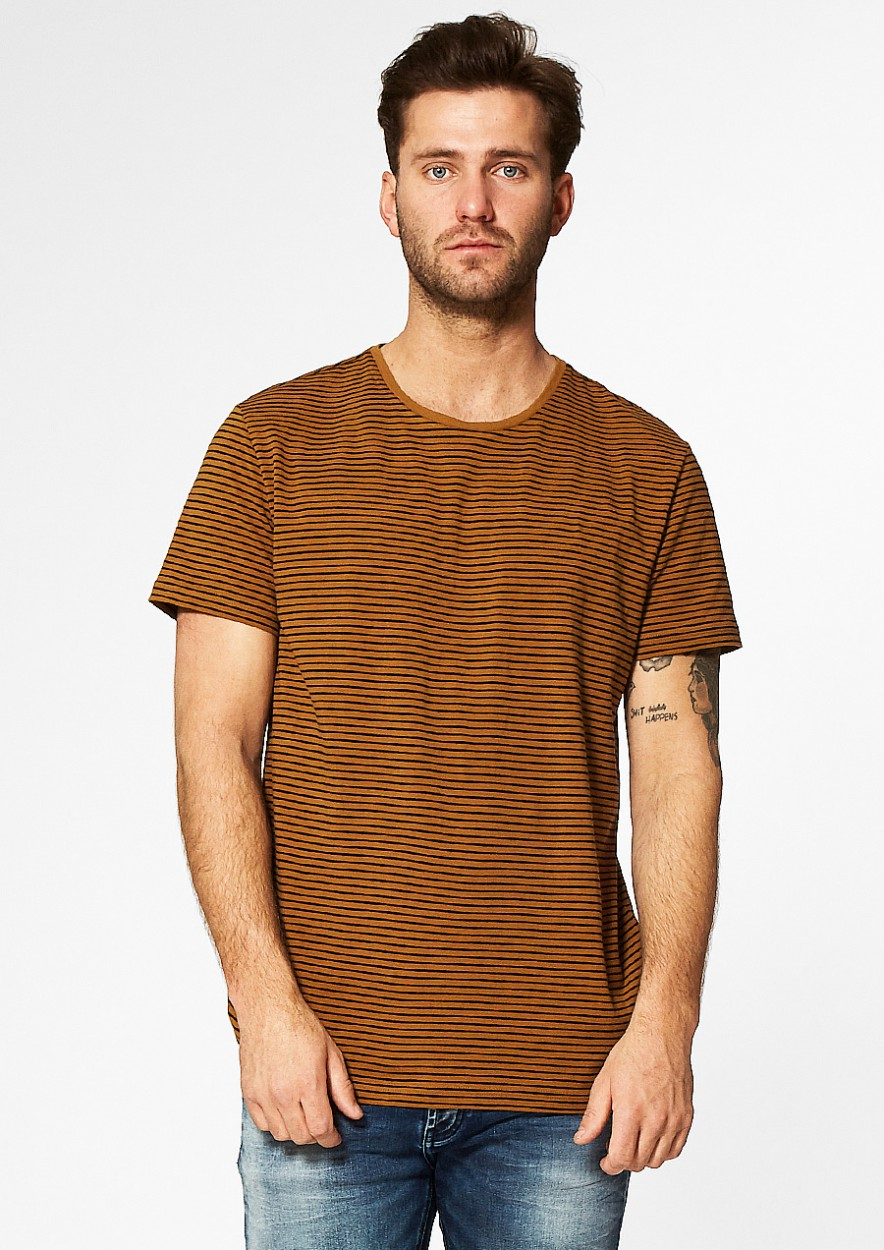 Theo Gestreept T-Shirt Oranje/Donkerblauw