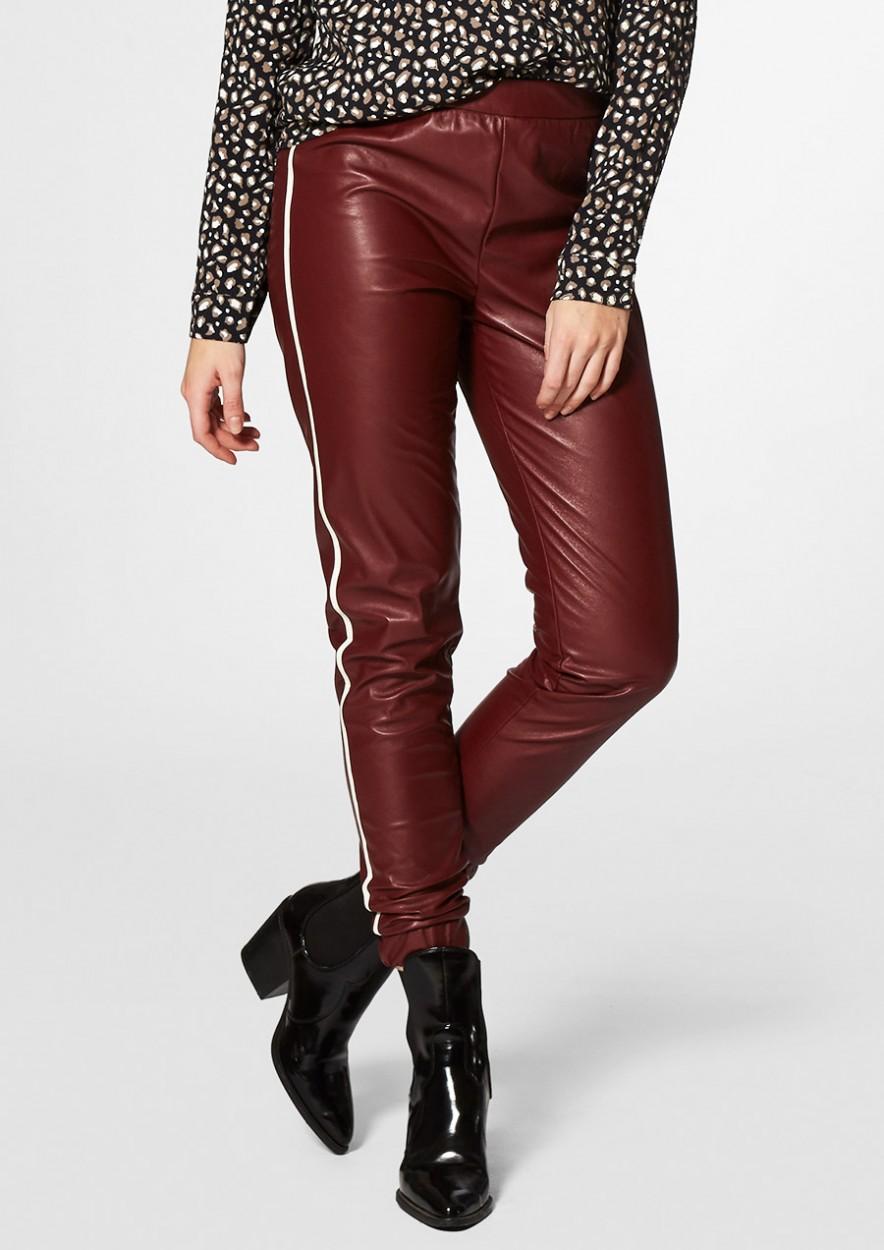 Lenny Faux Leather Broek Bordeaux Rood