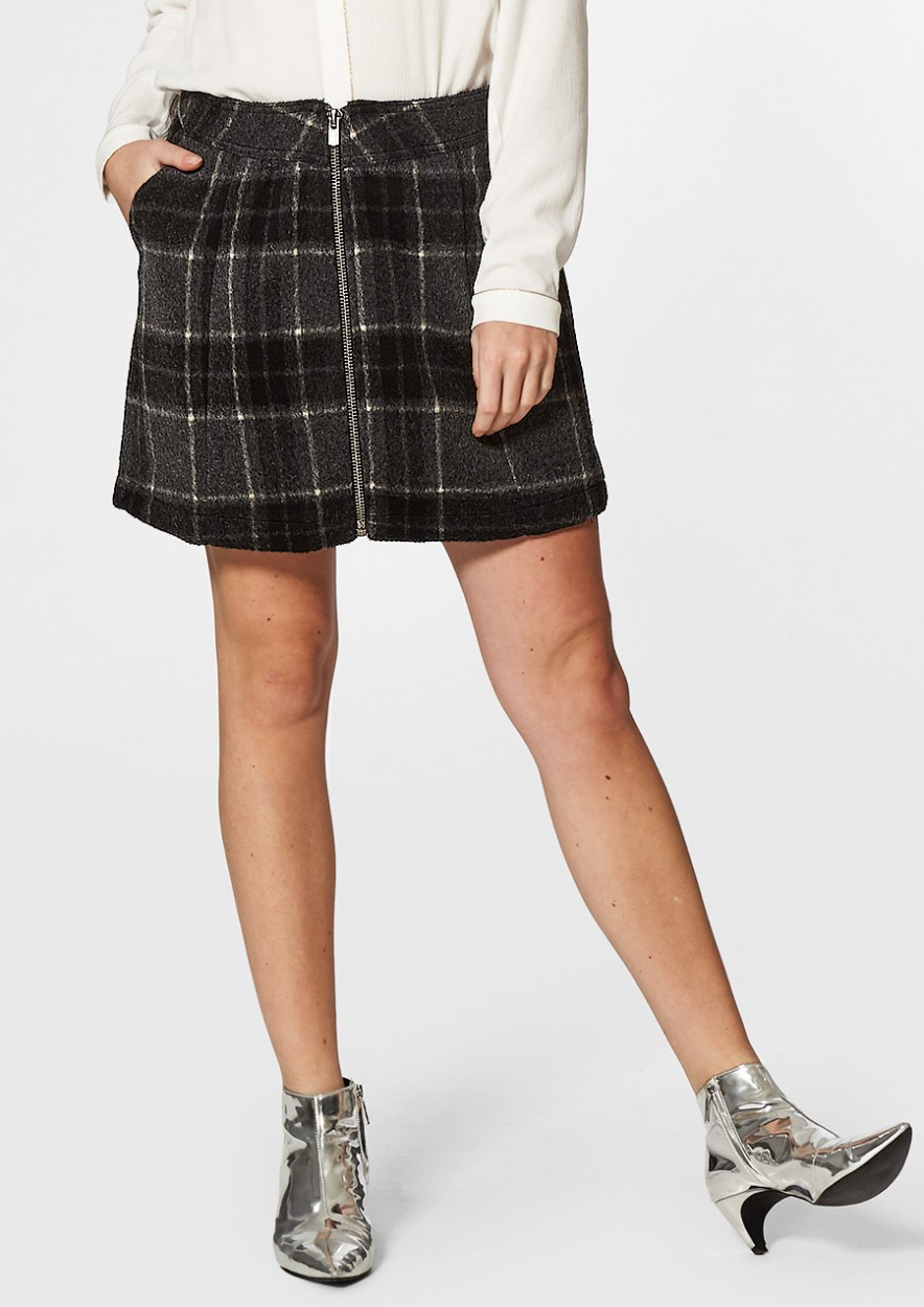 Feline Skirt Black Check