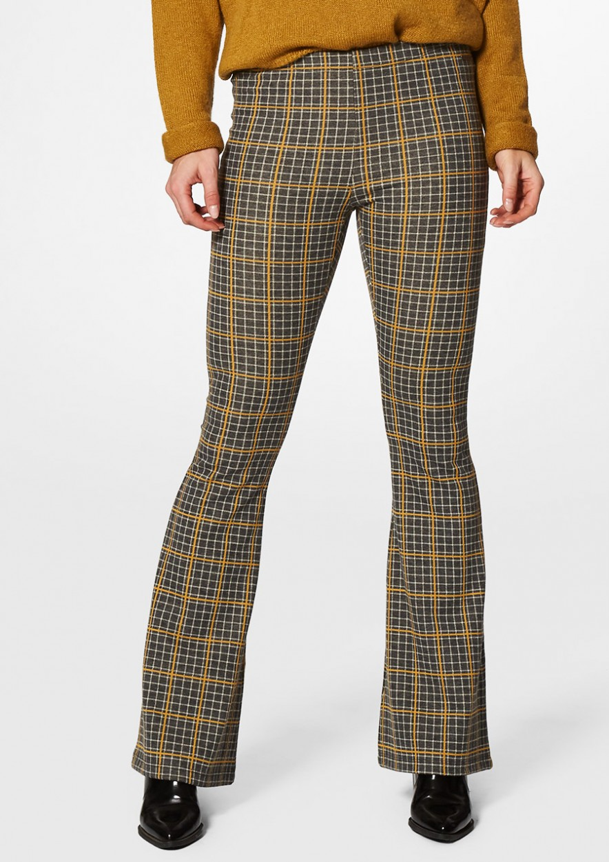 Sas Flare Pants with Check Pattern