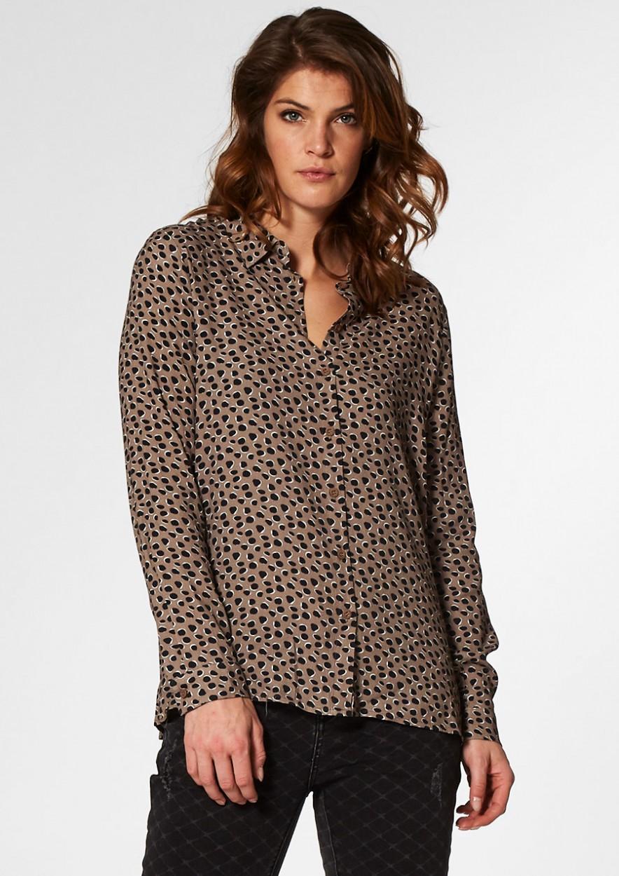 Lisanne Lichtbruine blouse met Zwart Stippenmotief