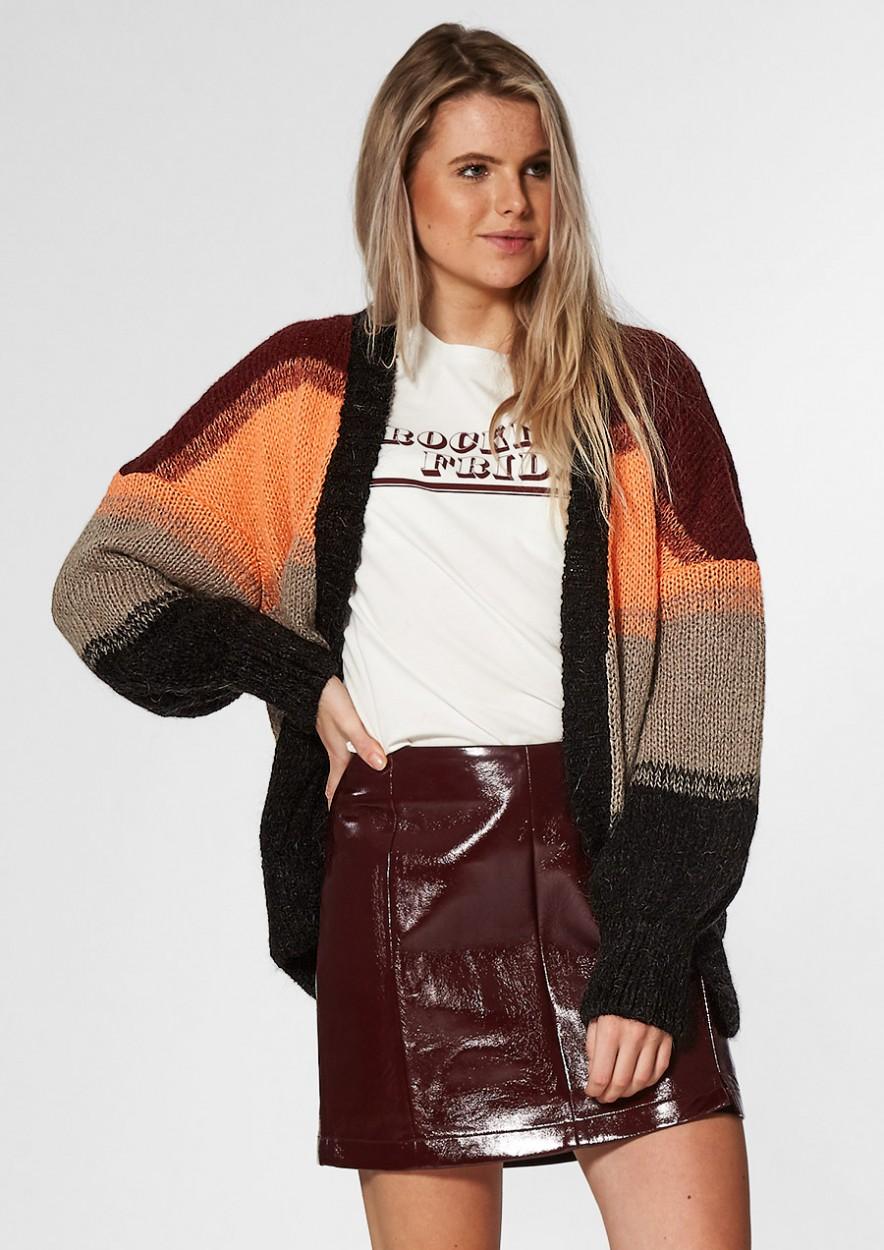 Flor Gebreid Vest met Multi-Color Streeppatroon