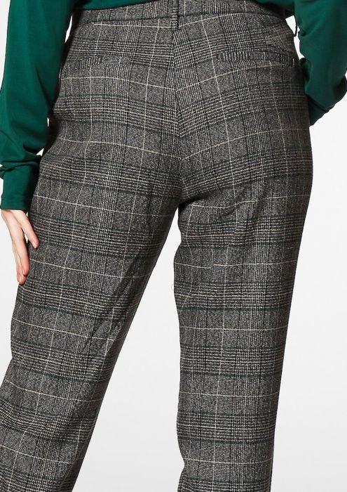 AGGY geruite broek donkergrijs/groen