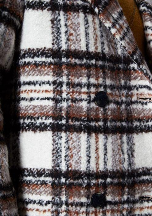 Eliza gebroken Witte jas met Multi-Color Ruitpatroon