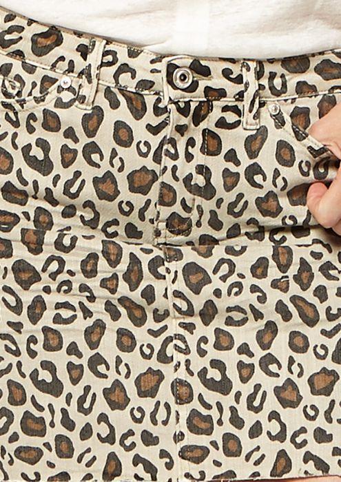 Leo Denim Rok met Luipaardprint
