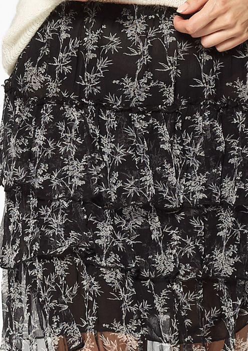 Portia Zwarte Chiffon Rok met Bamboeprint