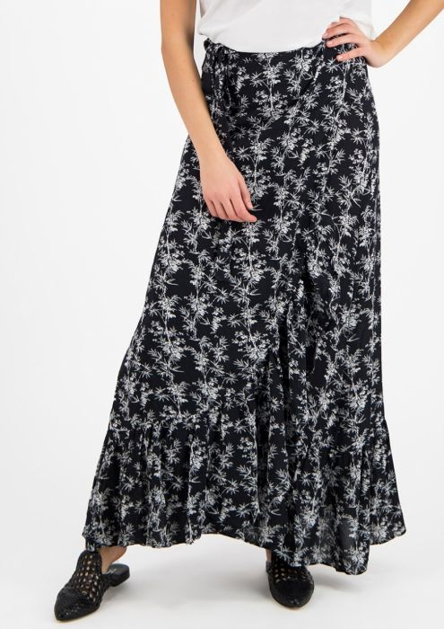 Emmy Wrap Skirt Black Bamboo