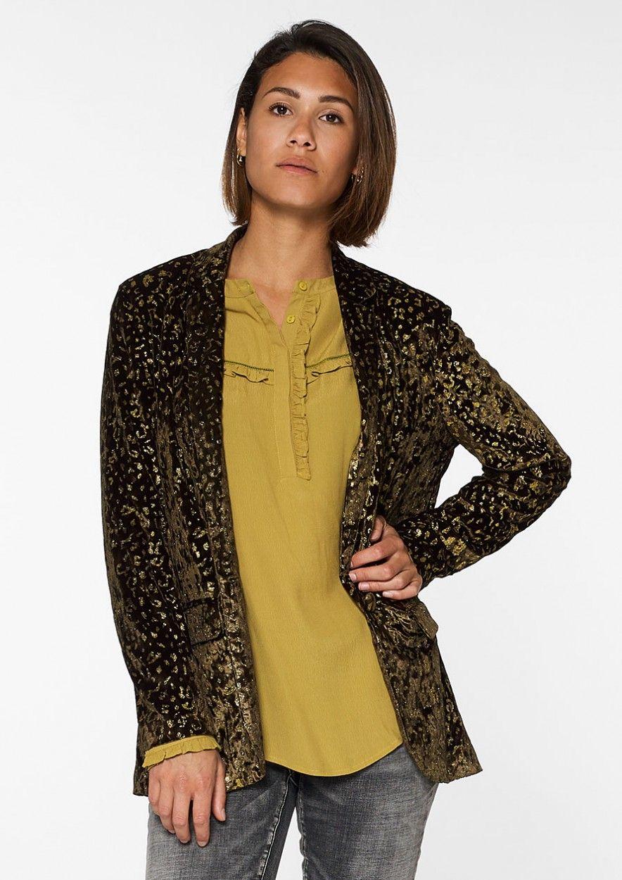 Liz Velvet Blazer Leopard