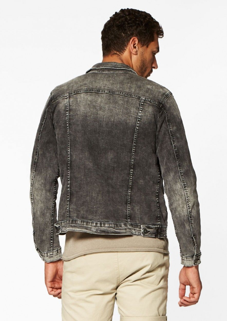 Idol Denim Jacket Damaged Charcoal