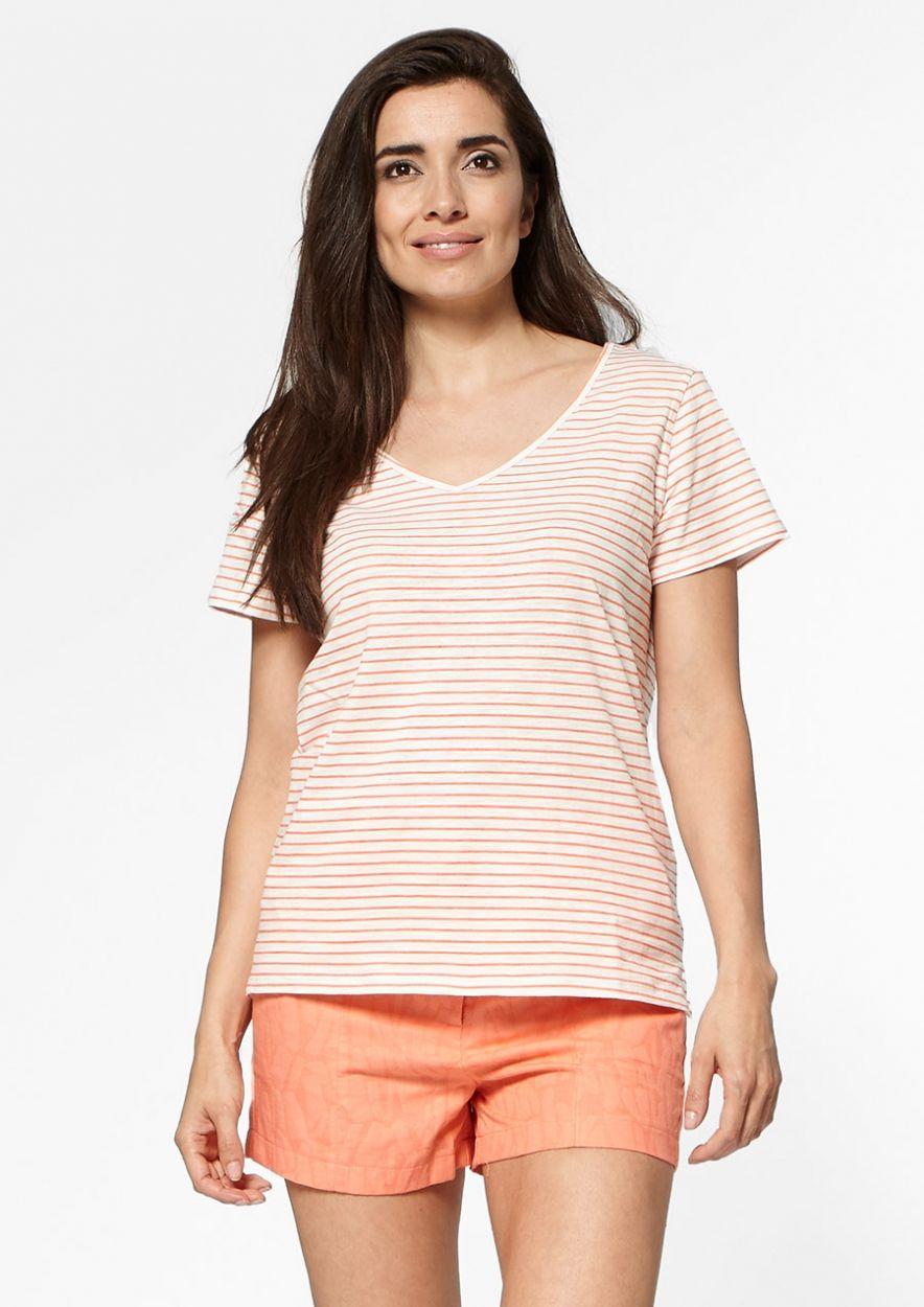 Quinn Wit T-Shirt met Roze Streeppatroon