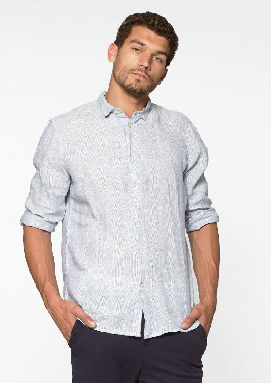 Calvin Shirt Linen Blurry Blue