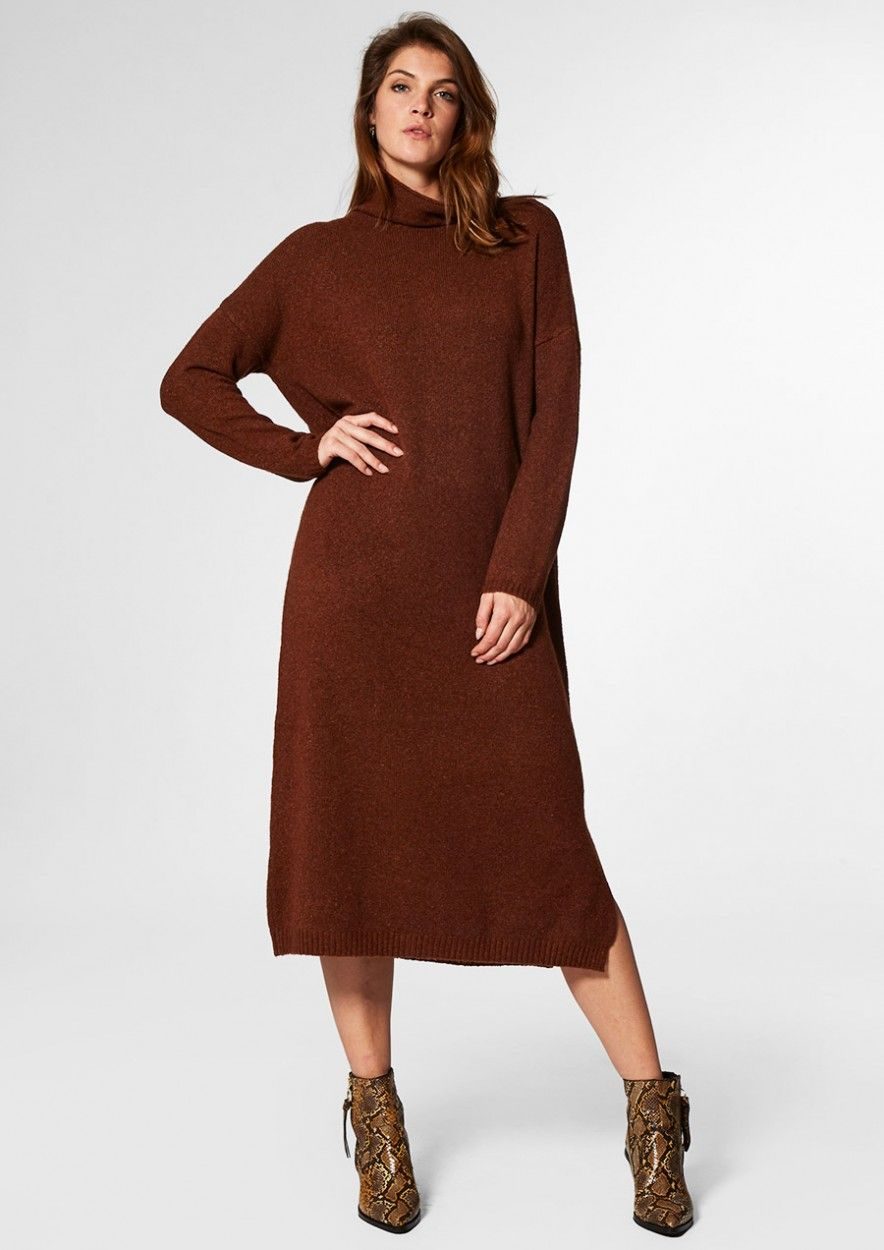 Maggie Knit Dress Rusty Brown