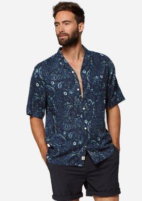 Max Blauw Hemd met Vintage Floral Design