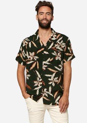 Codi Donkergroen Hemd met Gekleurde Floral print