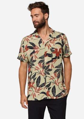 Codi Lichtgroen Hemd met Bruin-Zwarte Floral Print