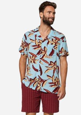 Codi Blauw Hemd met Rode Floral Print