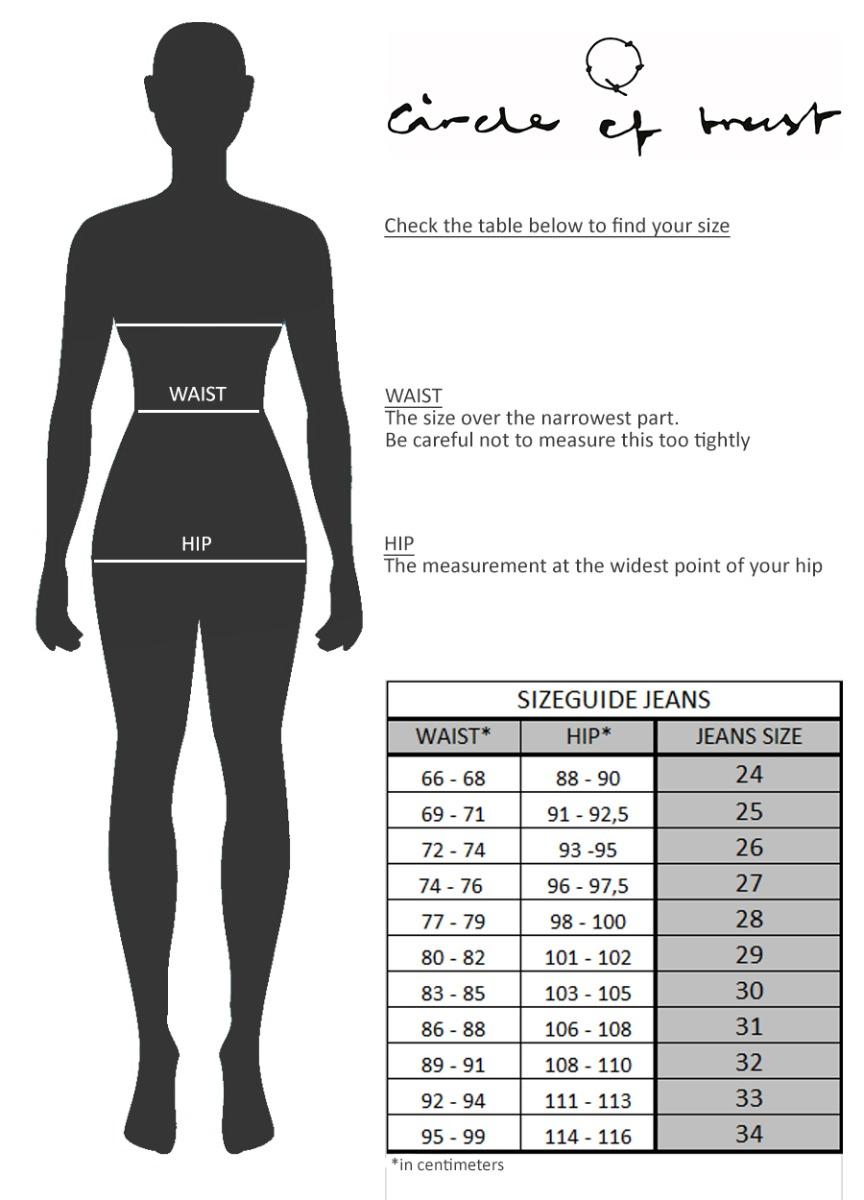 Sizeguide Jeans Women EU