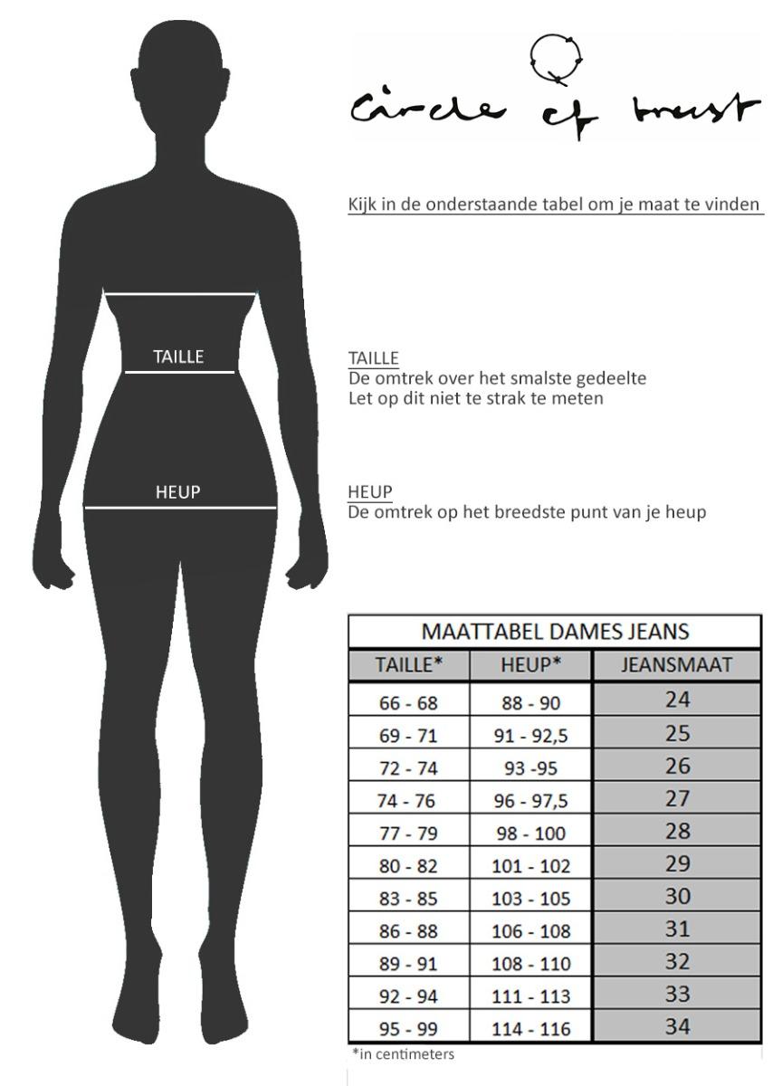 Maattabel Jeans Dames NL