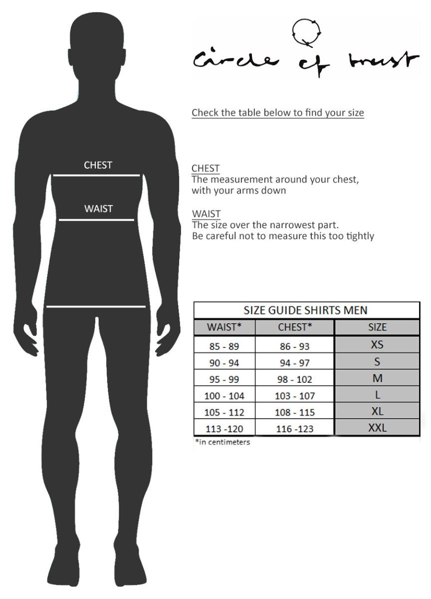 Size guide men Tops